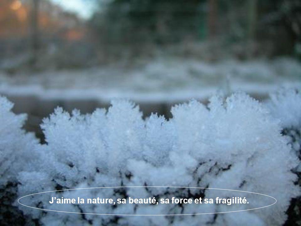 Jaime la nature, sa beauté, sa force et sa fragilité.