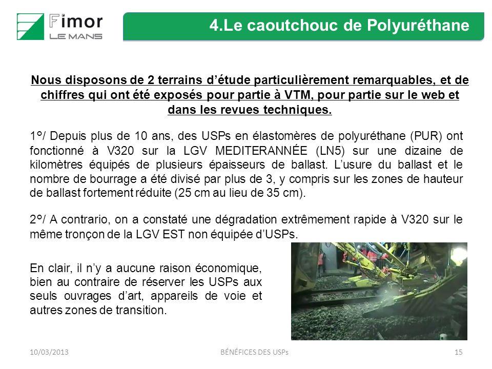 1510/03/2013BÉNÉFICES DES USPs 1°/ Depuis plus de 10 ans, des USPs en élastomères de polyuréthane (PUR) ont fonctionné à V320 sur la LGV MEDITERANNÉE (LN5) sur une dizaine de kilomètres équipés de plusieurs épaisseurs de ballast.