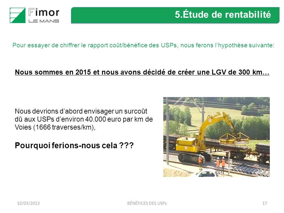 17 Nous sommes en 2015 et nous avons décidé de créer une LGV de 300 km… Nous devrions dabord envisager un surcoût dû aux USPs denviron 40.000 euro par km de Voies (1666 traverses/km), Pourquoi ferions-nous cela ??.