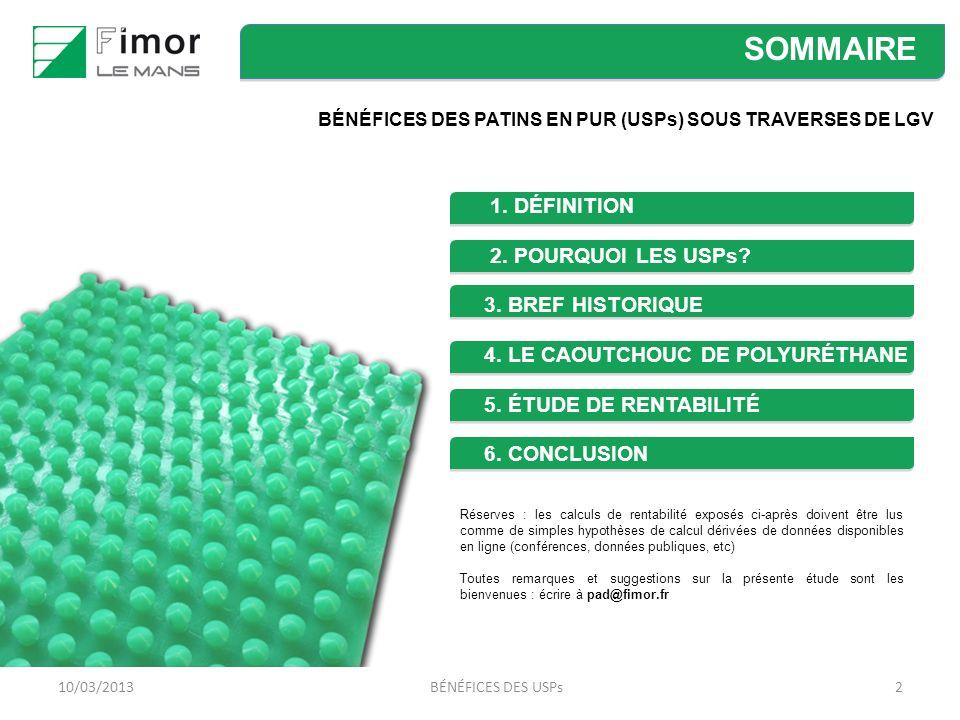 210/03/2013BÉNÉFICES DES USPs SOMMAIRE BÉNÉFICES DES PATINS EN PUR (USPs) SOUS TRAVERSES DE LGV 1.
