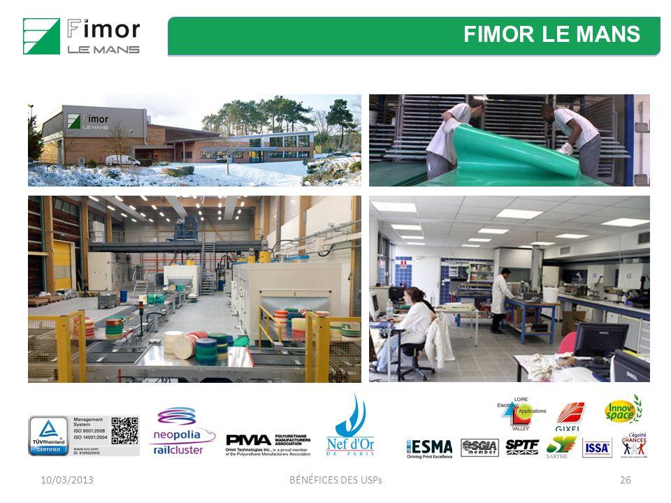 BÉNÉFICES DES USPs26 FIMOR LE MANS 10/03/2013