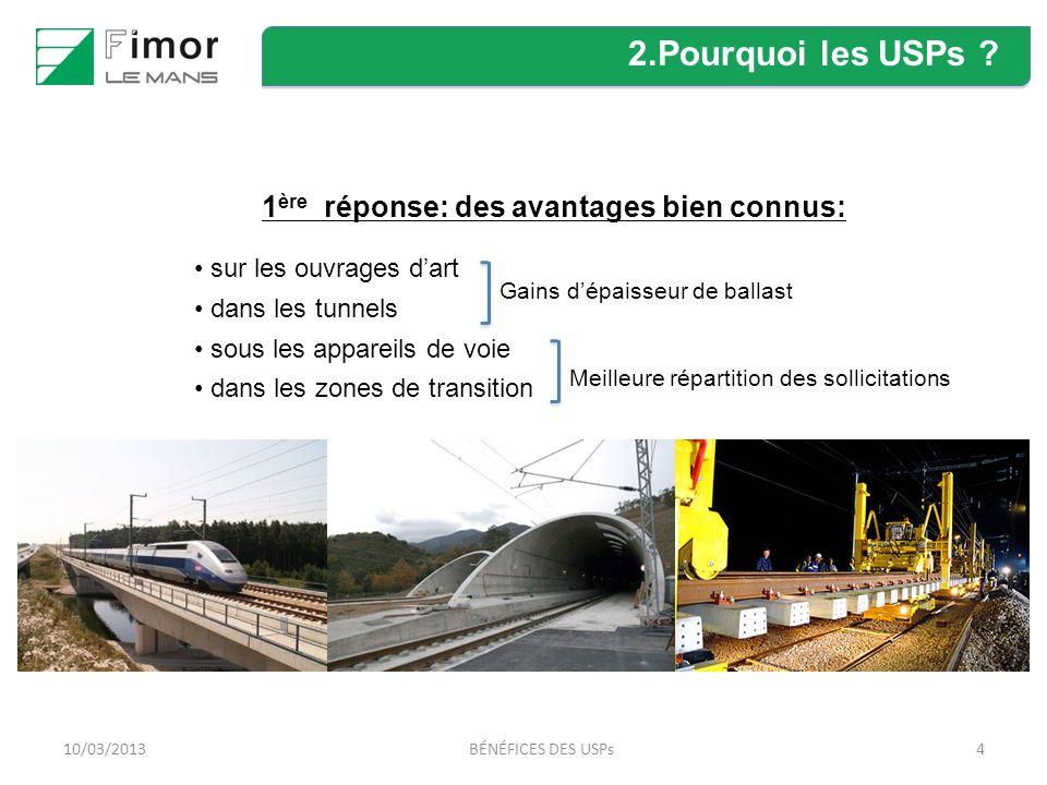410/03/2013BÉNÉFICES DES USPs 1 ère réponse: des avantages bien connus: sur les ouvrages dart dans les tunnels sous les appareils de voie dans les zones de transition 2.Pourquoi les USPs .
