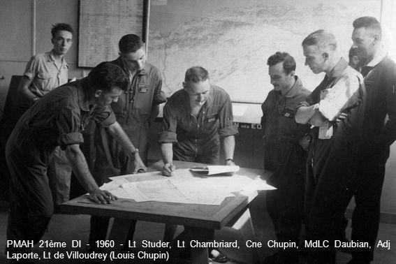 PMAH 21ème DI - 1960 - Lt Studer, Lt Chambriard, Cne Chupin, MdLC Daubian, Adj Laporte, Lt de Villoudrey (Louis Chupin)