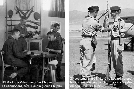 1960 - Lt de Villoudrey, Cne Chupin, Lt Chambriard, MdL Daubin (Louis Chupin) 21 septembre 1961 - Le Cne Lagarde prend le commandement - Adj Laporte p