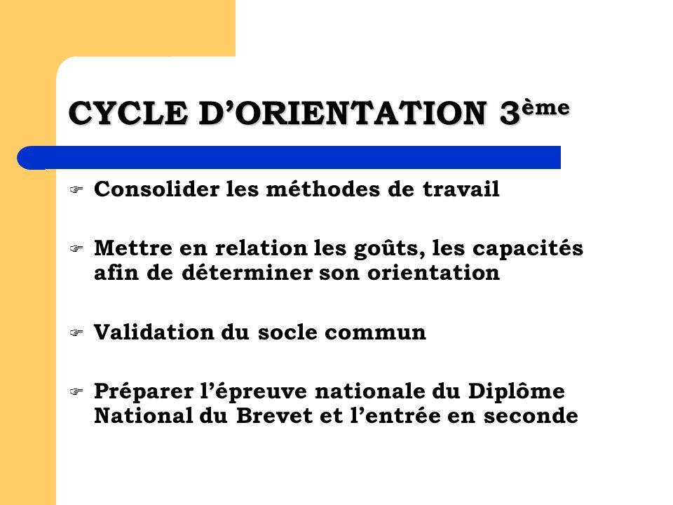 CYCLE DORIENTATION 3 ème Consolider les méthodes de travail Mettre en relation les goûts, les capacités afin de déterminer son orientation Validation