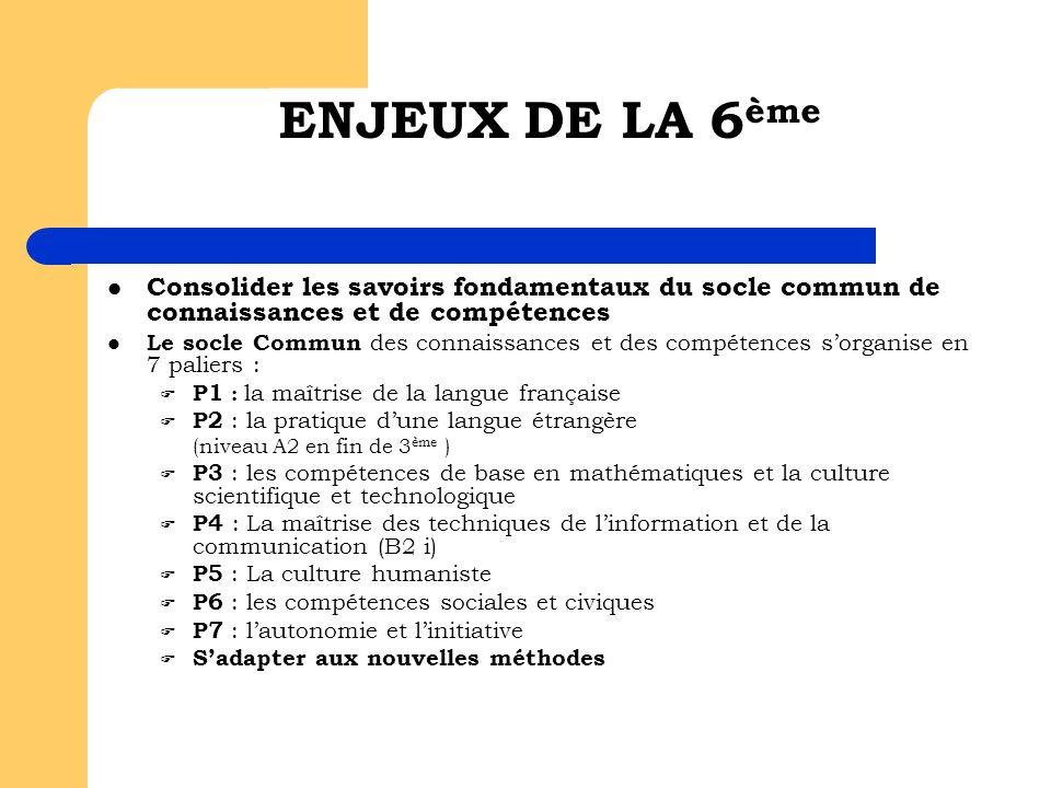 ENJEUX DE LA 6 ème Consolider les savoirs fondamentaux du socle commun de connaissances et de compétences Le socle Commun des connaissances et des com