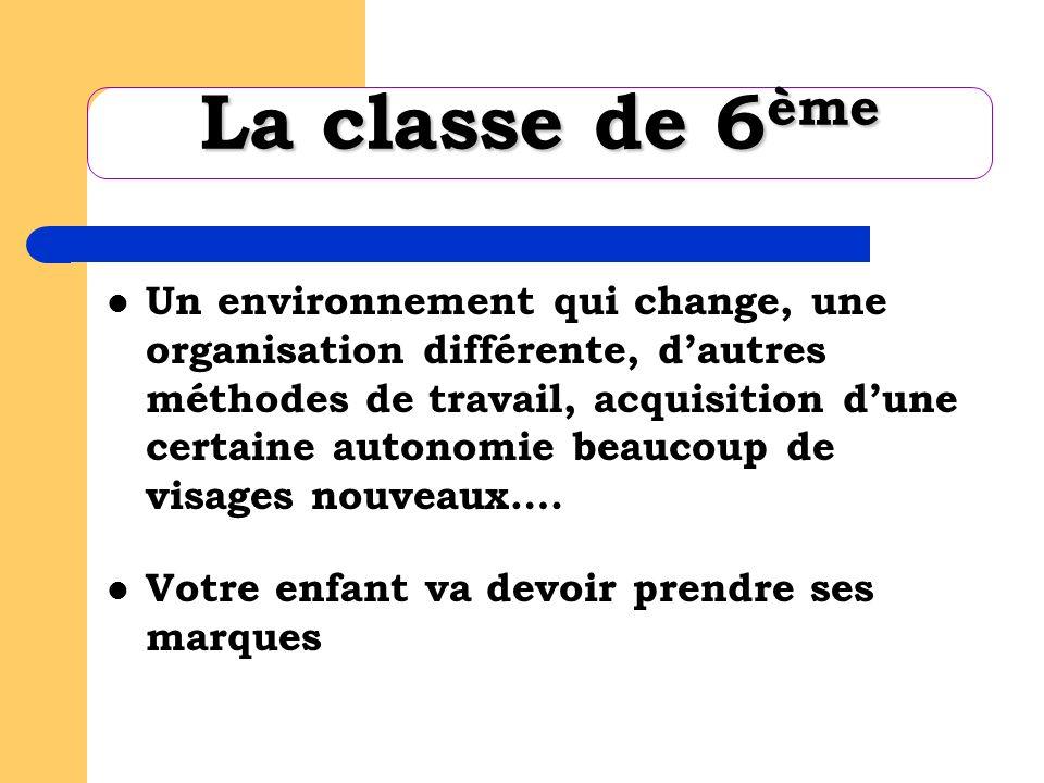 La classe de 6 ème Un environnement qui change, une organisation différente, dautres méthodes de travail, acquisition dune certaine autonomie beaucoup de visages nouveaux….