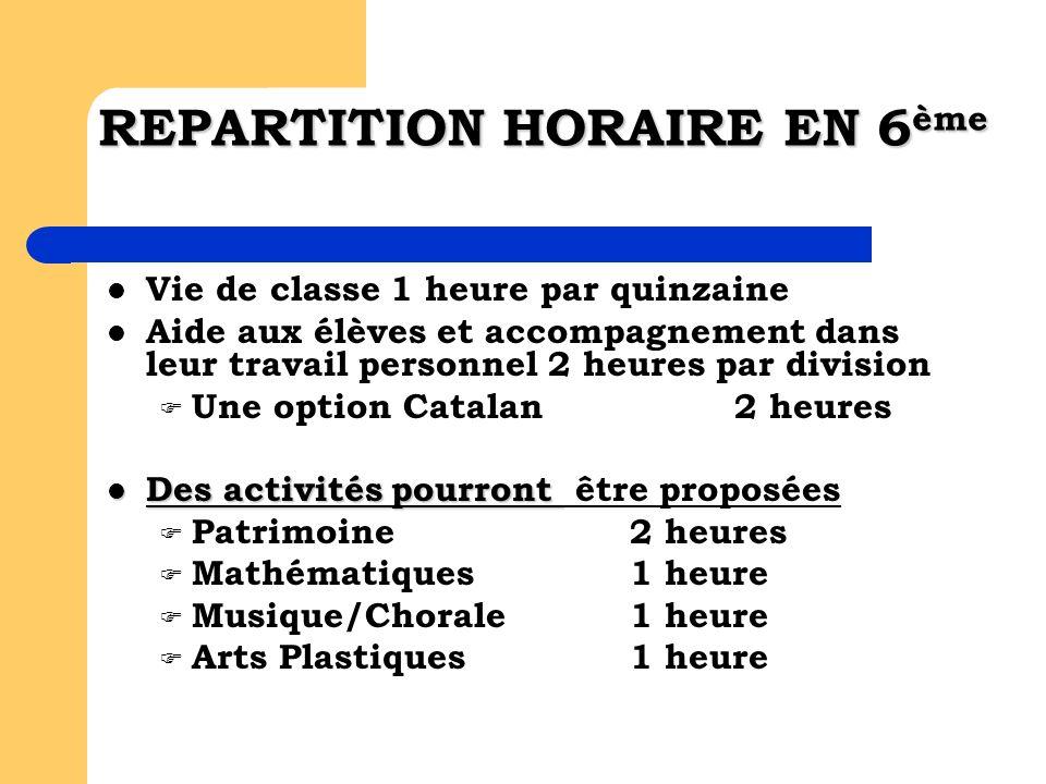 REPARTITION HORAIRE EN 6 ème Vie de classe 1 heure par quinzaine Aide aux élèves et accompagnement dans leur travail personnel 2 heures par division U