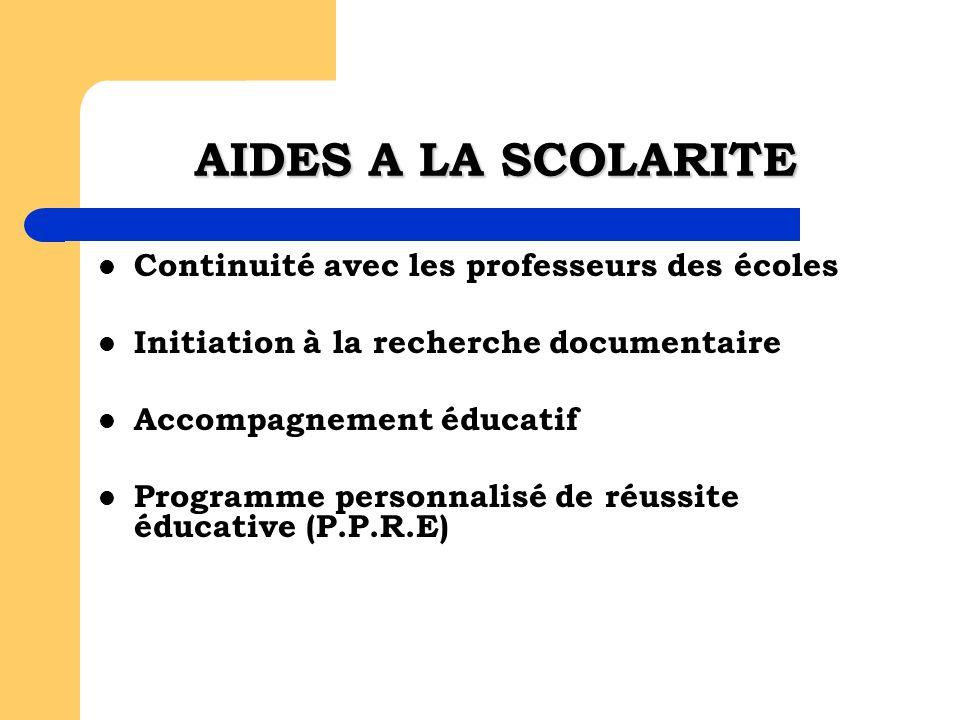 Continuité avec les professeurs des écoles Initiation à la recherche documentaire Accompagnement éducatif Programme personnalisé de réussite éducative (P.P.R.E) AIDES A LA SCOLARITE