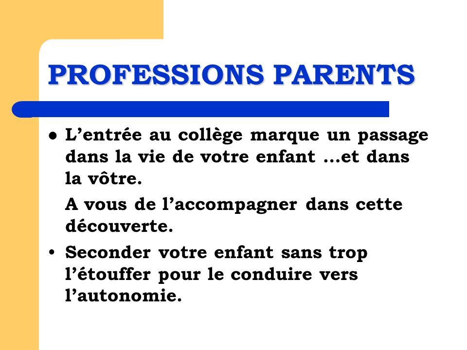 PROFESSIONS PARENTS Lentrée au collège marque un passage dans la vie de votre enfant …et dans la vôtre.