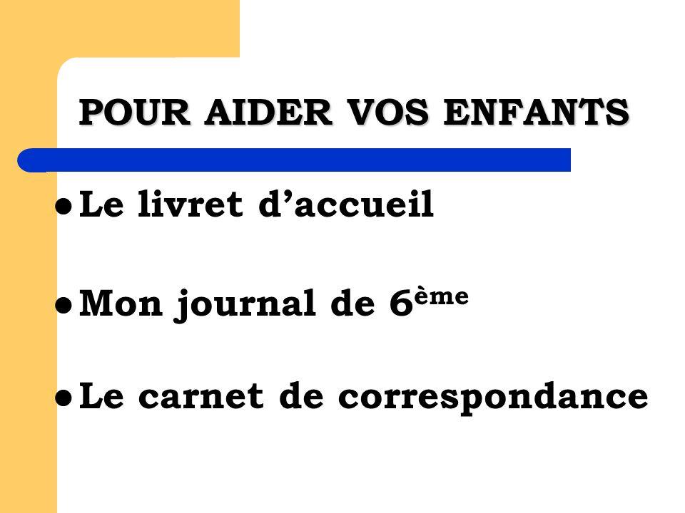 POUR AIDER VOS ENFANTS Le livret daccueil Mon journal de 6 ème Le carnet de correspondance