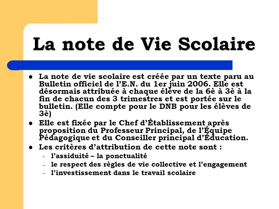 La note de Vie Scolaire La note de vie scolaire est créée par un texte paru au Bulletin officiel de lE.N.
