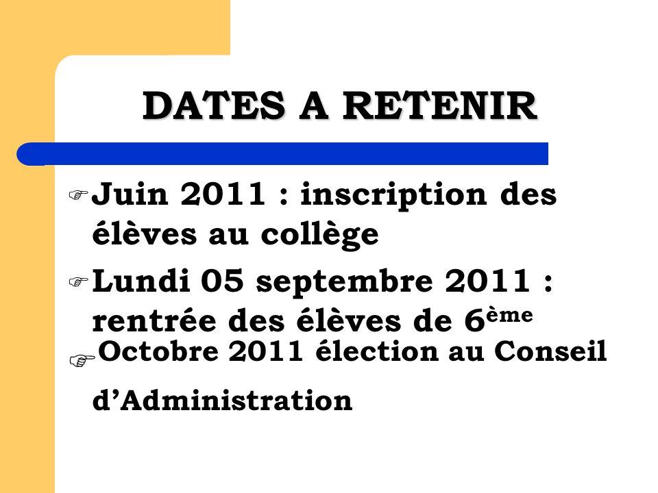 DATES A RETENIR Juin 2011 : inscription des élèves au collège Lundi 05 septembre 2011 : rentrée des élèves de 6 ème Octobre 2011 élection au Conseil d