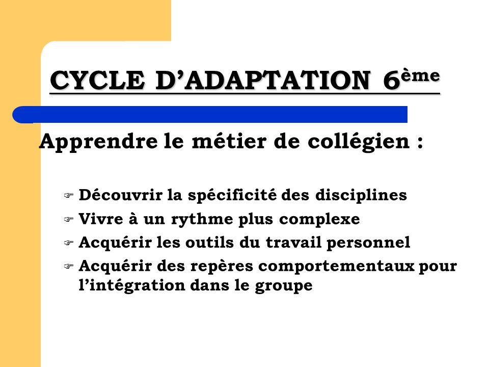 CYCLE DADAPTATION 6 ème Apprendre le métier de collégien : Découvrir la spécificité des disciplines Vivre à un rythme plus complexe Acquérir les outil