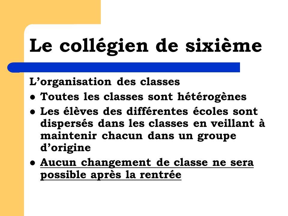 Le collégien de sixième Lorganisation des classes Toutes les classes sont hétérogènes Les élèves des différentes écoles sont dispersés dans les classe