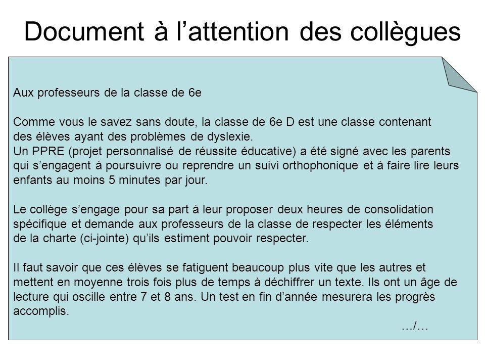 Document à lattention des collègues Aux professeurs de la classe de 6e Comme vous le savez sans doute, la classe de 6e D est une classe contenant des