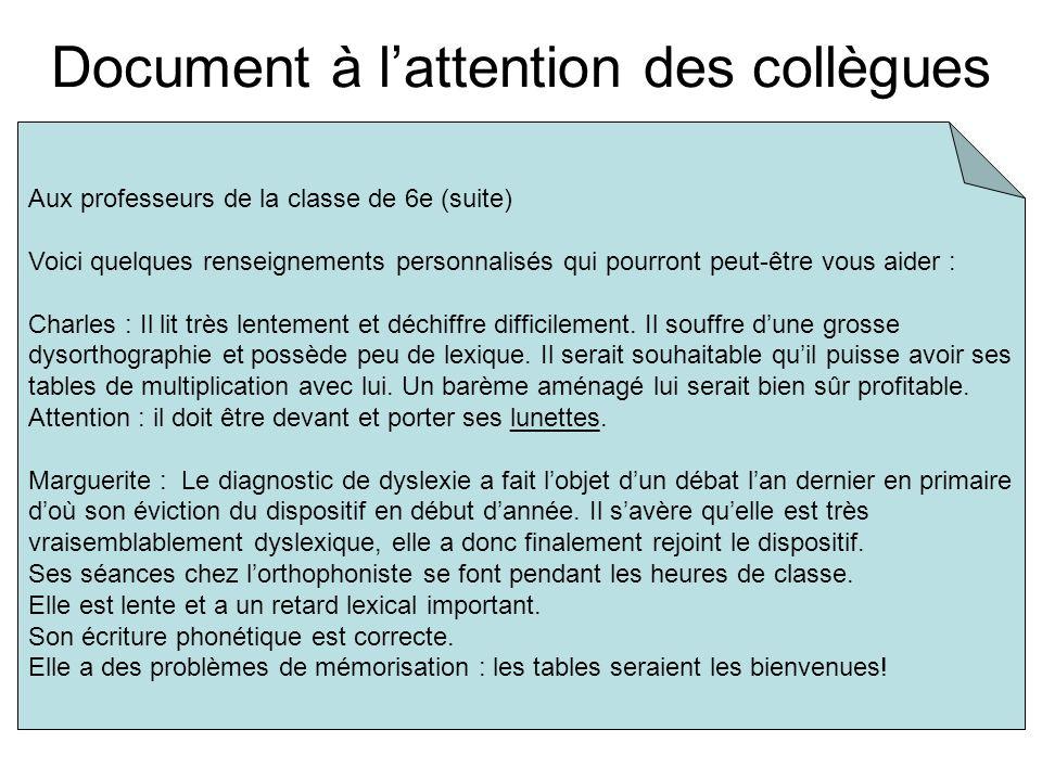Document à lattention des collègues Aux professeurs de la classe de 6e (suite) Voici quelques renseignements personnalisés qui pourront peut-être vous