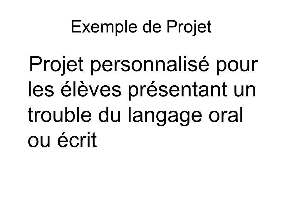 Exemple de Projet Projet personnalisé pour les élèves présentant un trouble du langage oral ou écrit