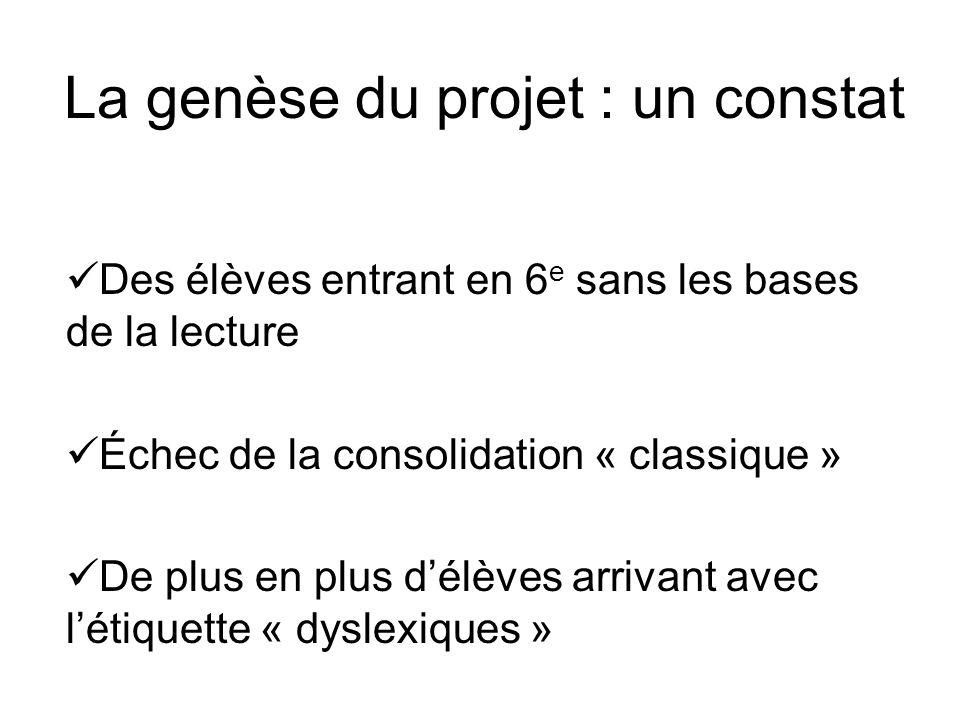 La genèse du projet : un constat Des élèves entrant en 6 e sans les bases de la lecture Échec de la consolidation « classique » De plus en plus délève