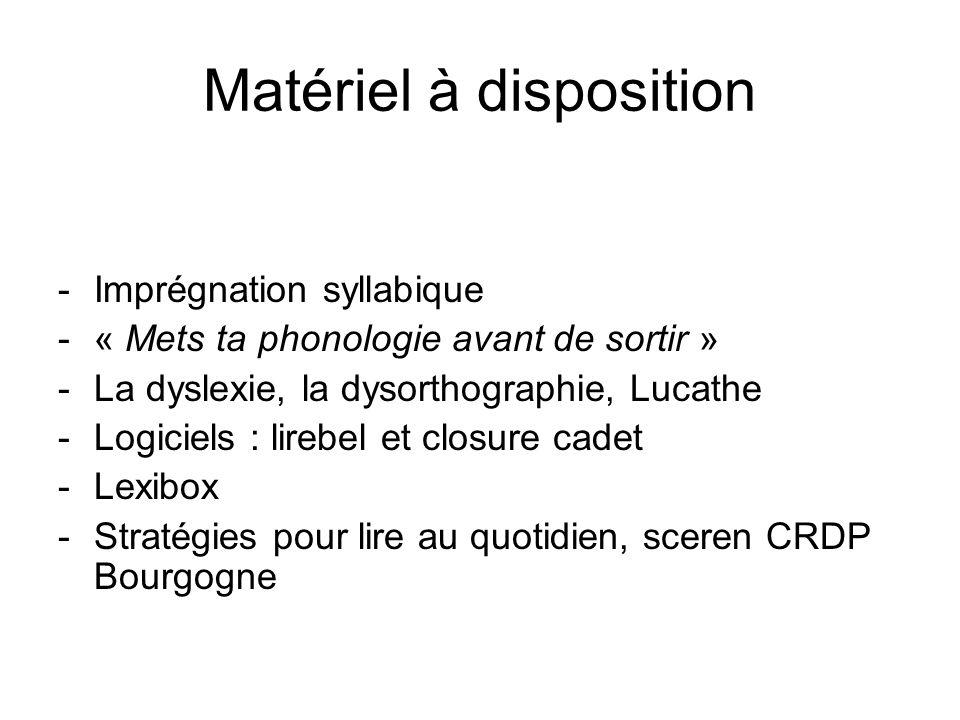 Matériel à disposition -Imprégnation syllabique -« Mets ta phonologie avant de sortir » -La dyslexie, la dysorthographie, Lucathe -Logiciels : lirebel