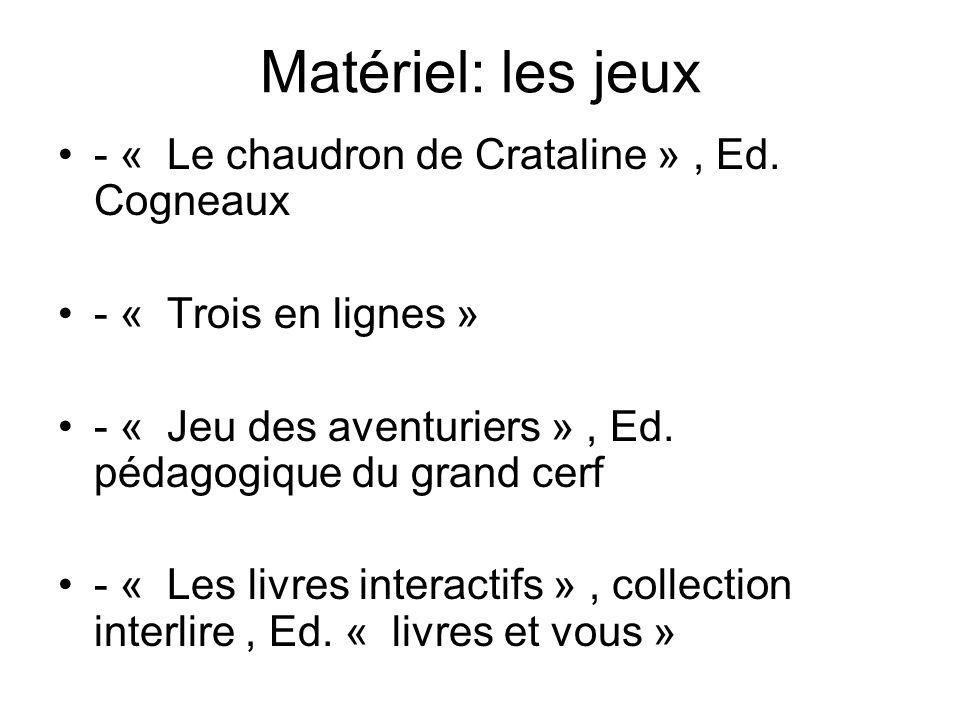 Matériel: les jeux - « Le chaudron de Crataline », Ed. Cogneaux - « Trois en lignes » - « Jeu des aventuriers », Ed. pédagogique du grand cerf - « Les