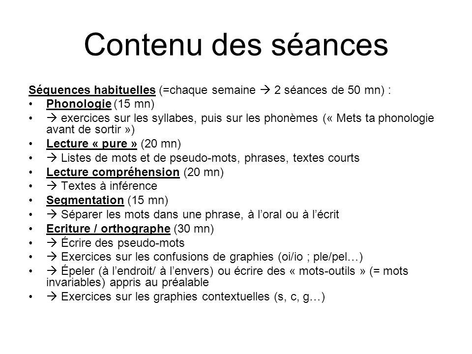 Contenu des séances Séquences habituelles (=chaque semaine 2 séances de 50 mn) : Phonologie (15 mn) exercices sur les syllabes, puis sur les phonèmes