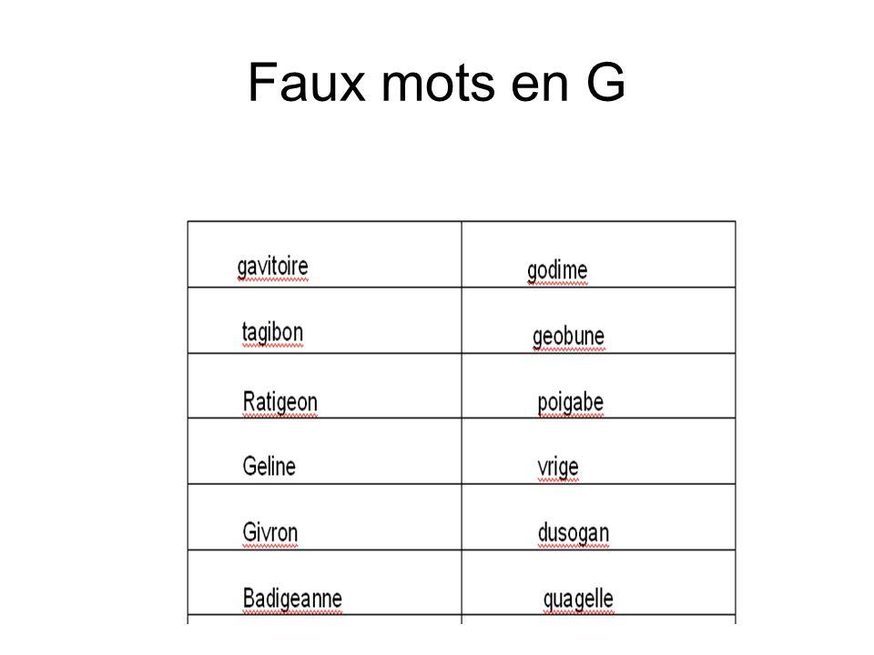 Faux mots en G