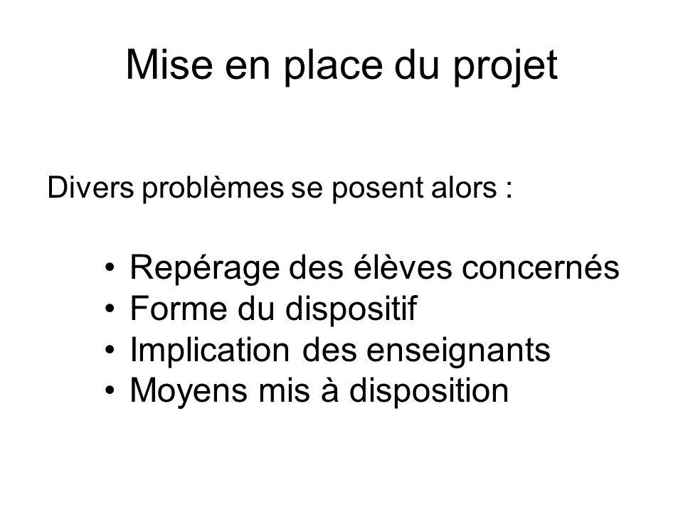 Mise en place du projet Repérage des élèves concernés Forme du dispositif Implication des enseignants Moyens mis à disposition Divers problèmes se pos