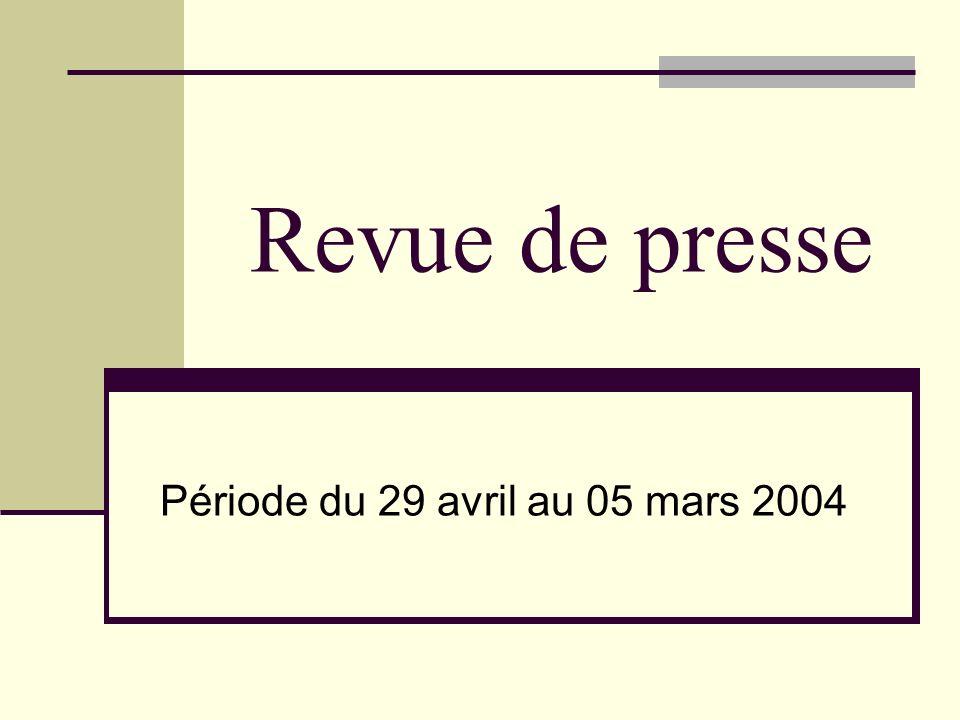 Thémes : 1)-Politique: «Le gouvernement instaure la faillite personnelle» (le 31-03-04) «Le gouvernement français profondément remanié» (le 31-03-04) «LOtan élargie à 26 célèbre lentrée de sept nouveaux membres» (le 02-04-04) «La reine Elizabeth II d Angleterre en visite d Etat en France» (le 05-04-04)