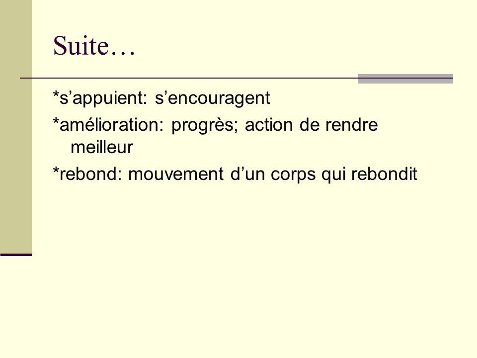 Suite… *sappuient: sencouragent *amélioration: progrès; action de rendre meilleur *rebond: mouvement dun corps qui rebondit