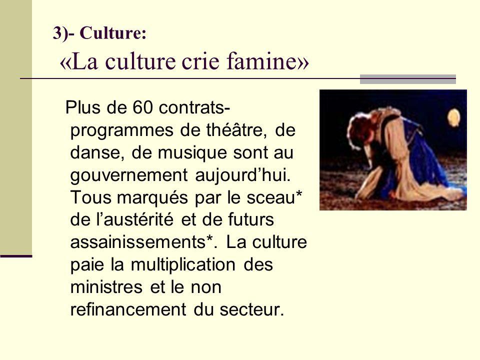 3)- Culture: «La culture crie famine» Plus de 60 contrats- programmes de théâtre, de danse, de musique sont au gouvernement aujourdhui.