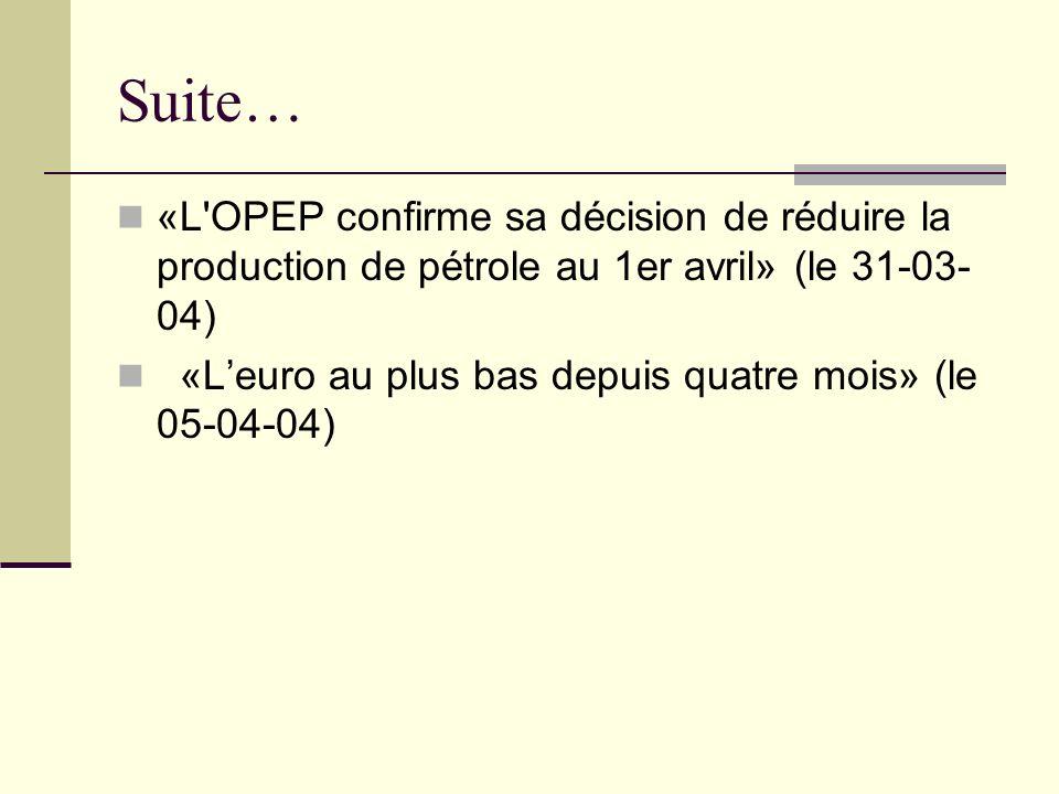 Suite… «L OPEP confirme sa décision de réduire la production de pétrole au 1er avril» (le 31-03- 04) «Leuro au plus bas depuis quatre mois» (le 05-04-04)