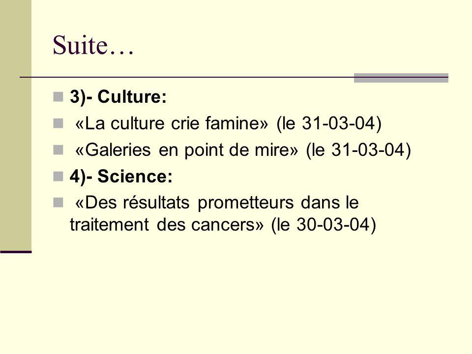 Suite… 3)- Culture: «La culture crie famine» (le 31-03-04) «Galeries en point de mire» (le 31-03-04) 4)- Science: «Des résultats prometteurs dans le traitement des cancers» (le 30-03-04)