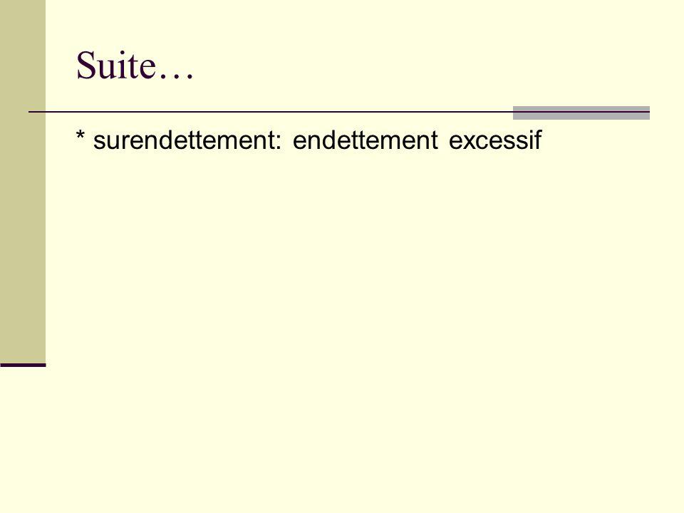 Suite… * surendettement: endettement excessif