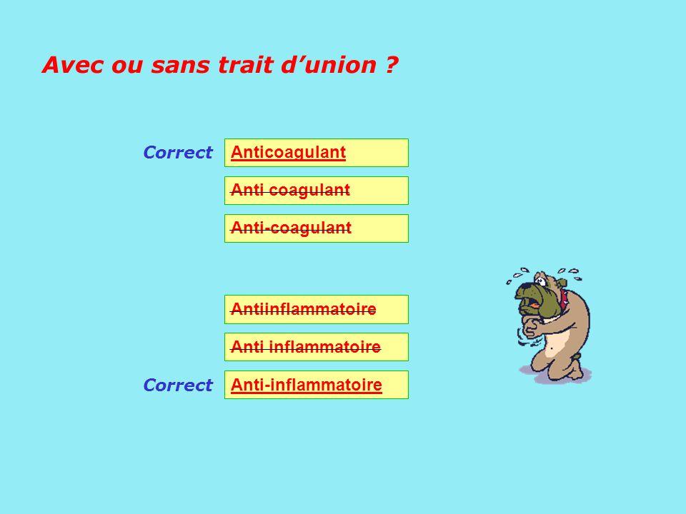 Avec ou sans trait dunion ? Anticoagulant Anti-coagulant Antiinflammatoire Anti-inflammatoire Correct
