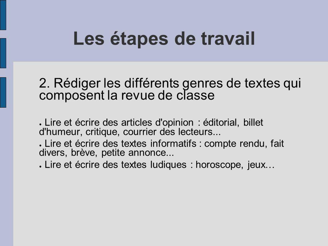 Les étapes de travail 2. Rédiger les différents genres de textes qui composent la revue de classe Lire et écrire des articles d'opinion : éditorial, b