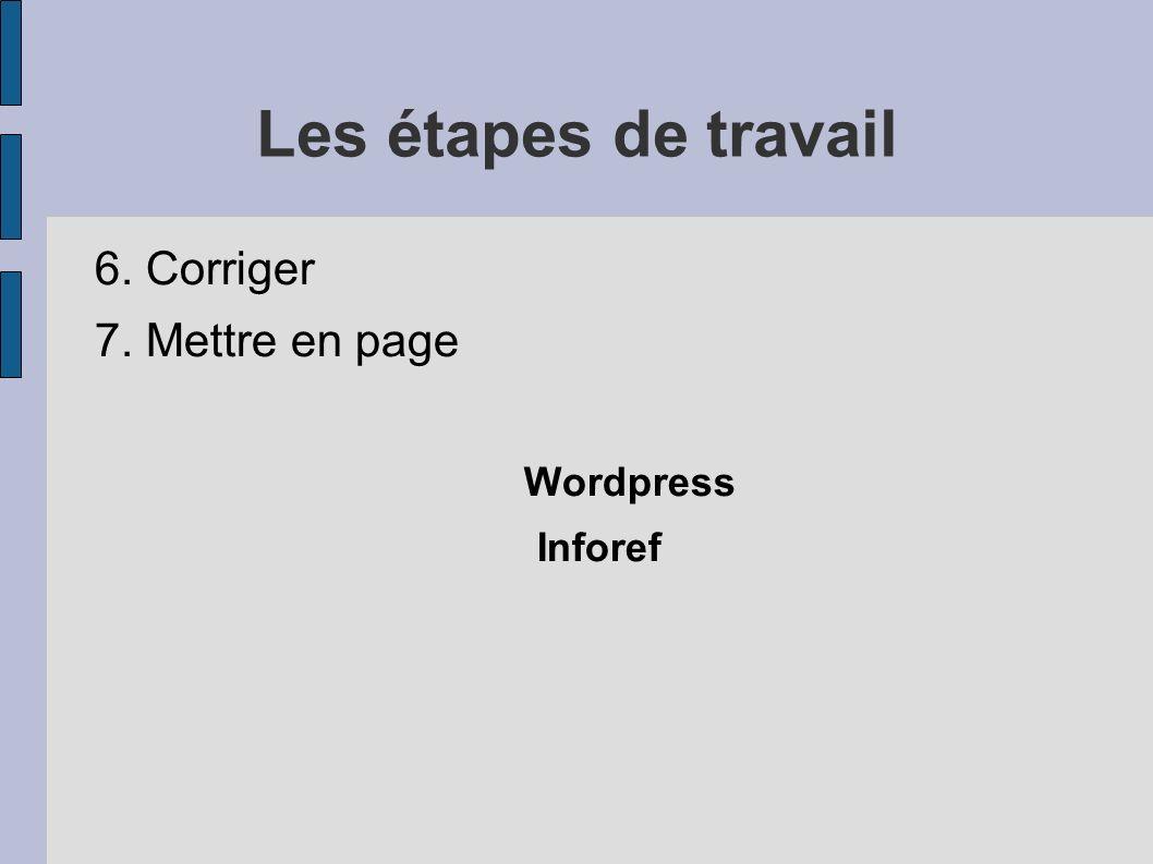 Les étapes de travail 6. Corriger 7. Mettre en page Wordpress Inforef