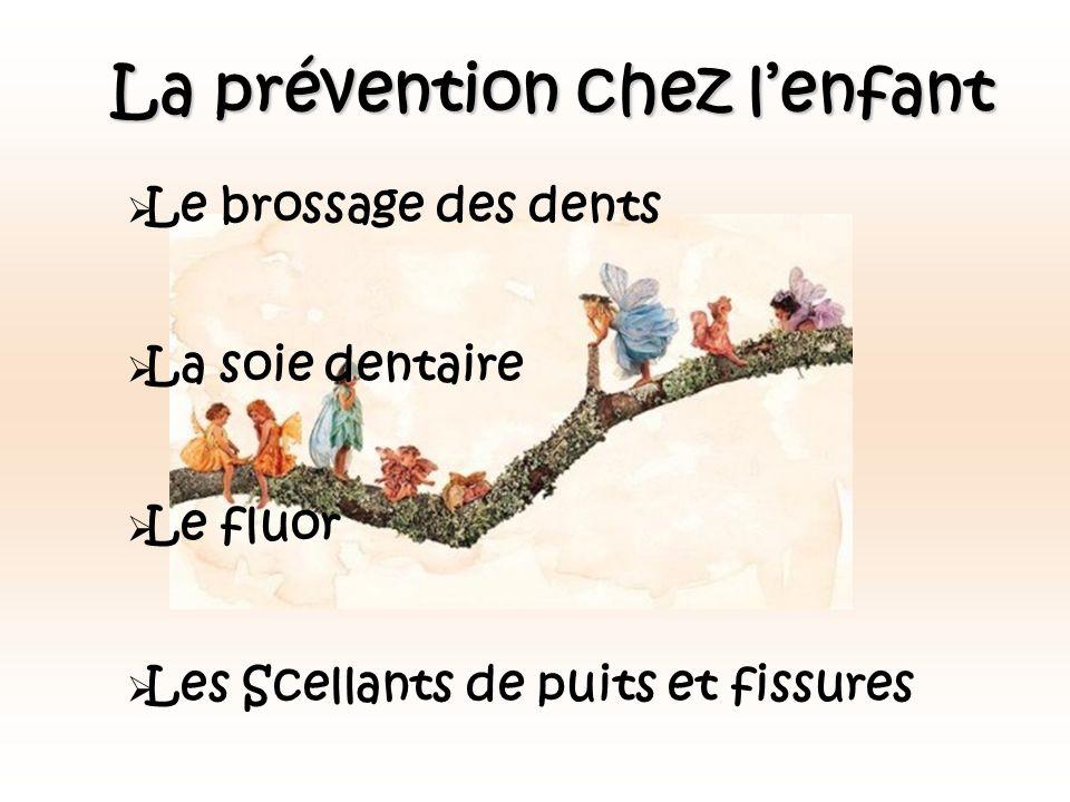 La prévention chez lenfant Le brossage des dents La soie dentaire Le fluor Les Scellants de puits et fissures