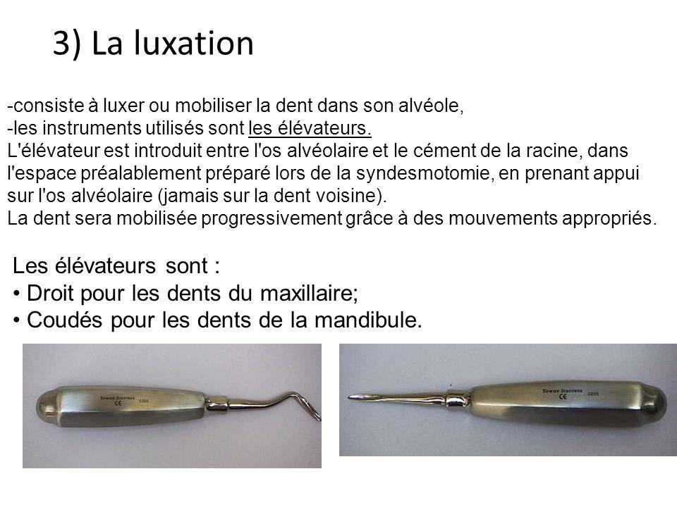 3) La luxation -consiste à luxer ou mobiliser la dent dans son alvéole, -les instruments utilisés sont les élévateurs.