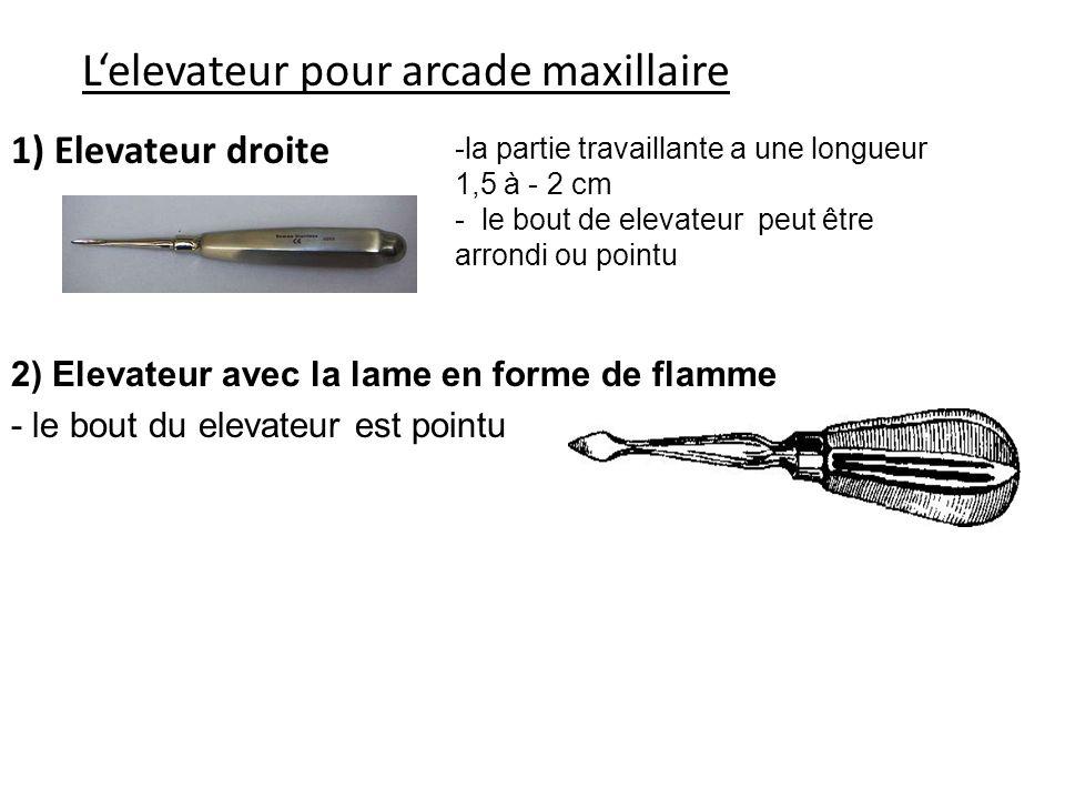 Lelevateur pour arcade maxillaire 1) Elevateur droite -la partie travaillante a une longueur 1,5 à - 2 cm - le bout de elevateur peut être arrondi ou pointu 2) Elevateur avec la lame en forme de flamme - le bout du elevateur est pointu