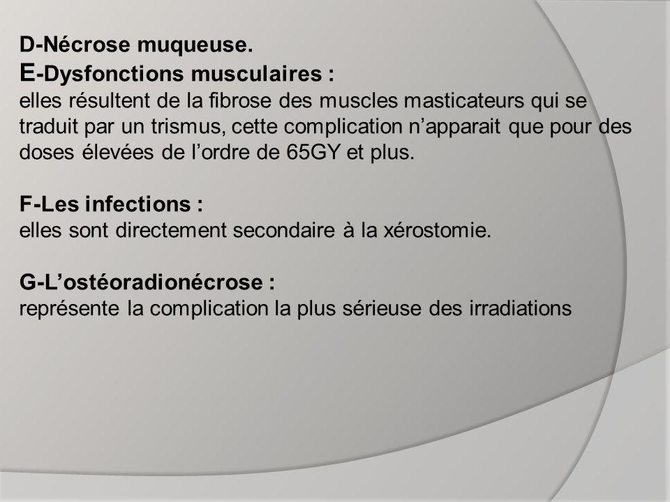 III) LOSTEORADIONECROSE (O.R.N) : 1-définition : Est une lésion ostéolytique due aux radiations ionisantes à fortes doses, elle apparait pour des doses égales ou supérieures à 50 grays.