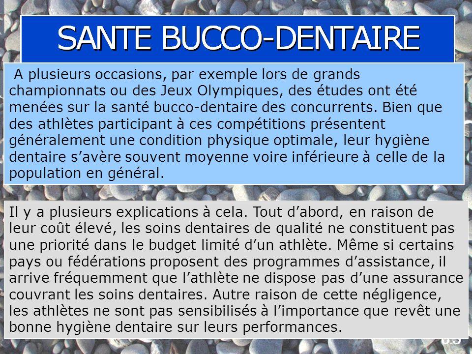 A plusieurs occasions, par exemple lors de grands championnats ou des Jeux Olympiques, des études ont été menées sur la santé bucco-dentaire des concurrents.