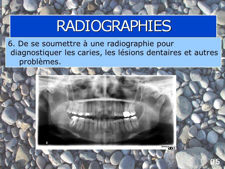 6. De se soumettre à une radiographie pour diagnostiquer les caries, les lésions dentaires et autres problèmes.
