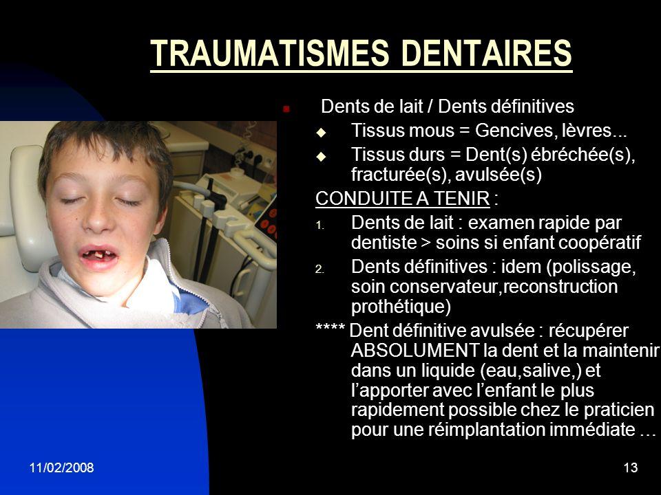 11/02/200813 TRAUMATISMES DENTAIRES Dents de lait / Dents définitives Tissus mous = Gencives, lèvres... Tissus durs = Dent(s) ébréchée(s), fracturée(s