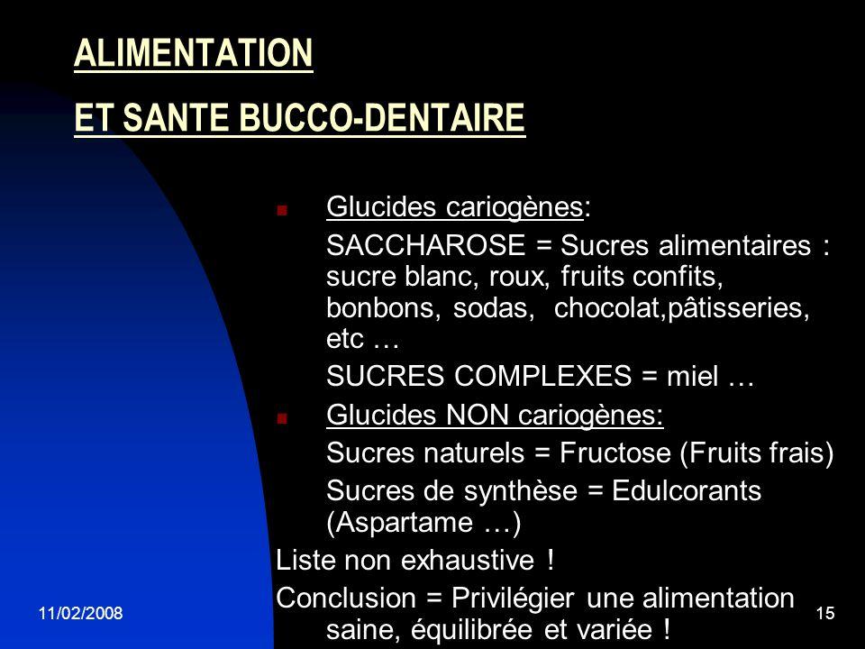 11/02/200815 ALIMENTATION ET SANTE BUCCO-DENTAIRE Glucides cariogènes: SACCHAROSE = Sucres alimentaires : sucre blanc, roux, fruits confits, bonbons,