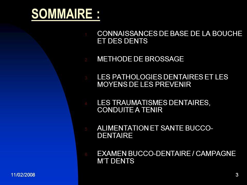 11/02/20083 SOMMAIRE : 1. CONNAISSANCES DE BASE DE LA BOUCHE ET DES DENTS 2. METHODE DE BROSSAGE 3. LES PATHOLOGIES DENTAIRES ET LES MOYENS DE LES PRE