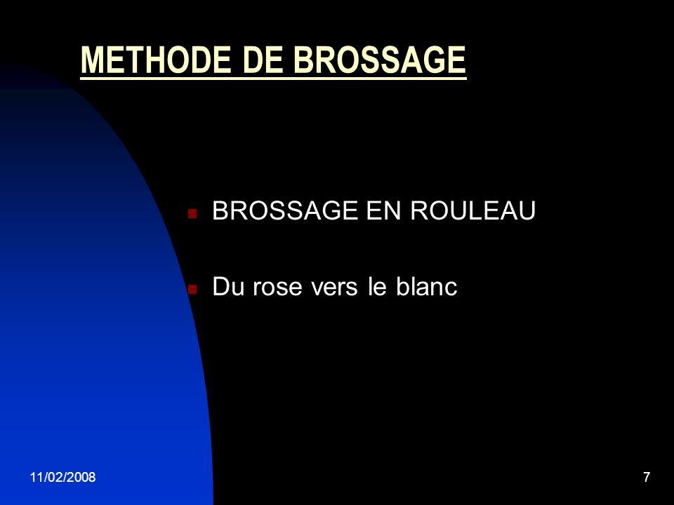 11/02/20087 METHODE DE BROSSAGE BROSSAGE EN ROULEAU Du rose vers le blanc
