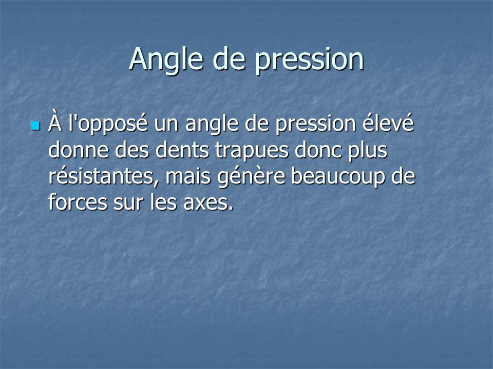 Angle de pression À l'opposé un angle de pression élevé donne des dents trapues donc plus résistantes, mais génère beaucoup de forces sur les axes. À