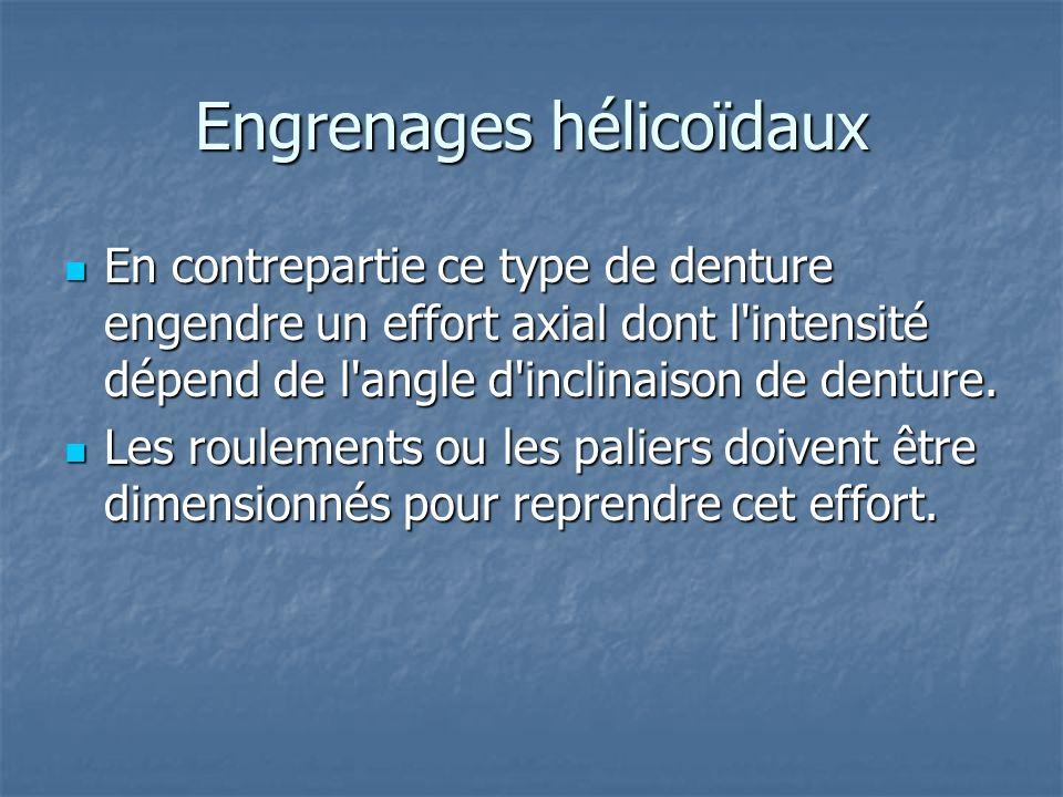 Engrenages hélicoïdaux En contrepartie ce type de denture engendre un effort axial dont l'intensité dépend de l'angle d'inclinaison de denture. En con