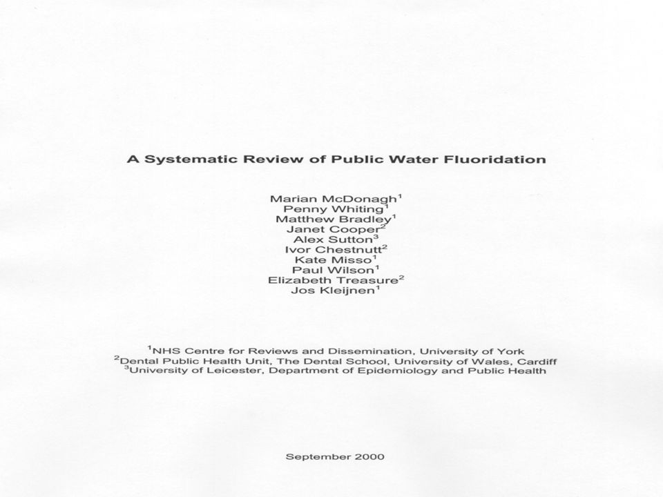 Réponse du Dr Clark «McDonagh MS, et al.«Systematic review of public water fluoridation.» In: NHS Centre for Reviews and Dissemination, ed.: Universit